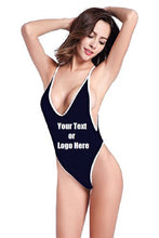 Load image into Gallery viewer, Custom Personalized Designed Women's High Cut One Piece Backless Thong Brazilian Bikini Swimsuits | DG Custom Graphics