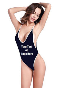 Custom Personalized Designed Women's High Cut One Piece Backless Thong Brazilian Bikini Swimsuits