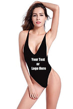 Load image into Gallery viewer, Custom Personalized Designed Women's High Cut One Piece Backless Thong Brazilian Bikini Swimsuits