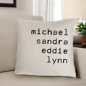 Family Names Personalized Throw Pillow | JDS