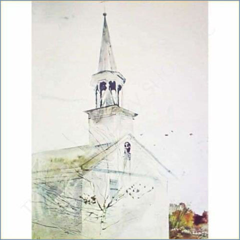 Andrew Wyeth | Tolling Bell 1970 Original Collograph