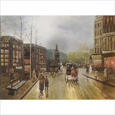 Harris | Parisian Marketplace with Horse and Carriage Original Painting
