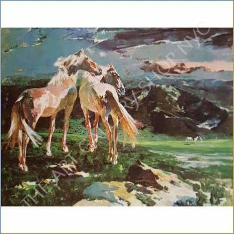 Ricardo Arenys | Richard Horses In The Foothills 1965 Original Lithograph