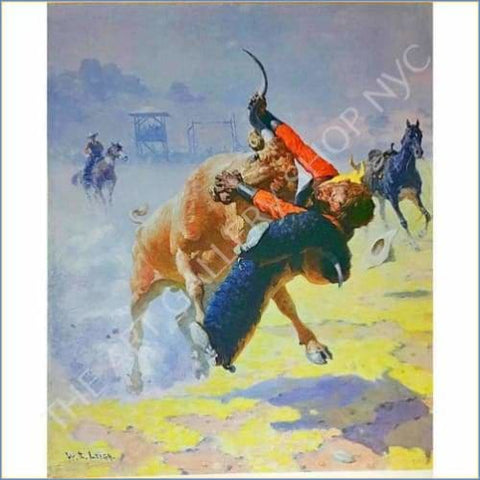 William Leigh | Bull Dogging 1960 Original Lithograph