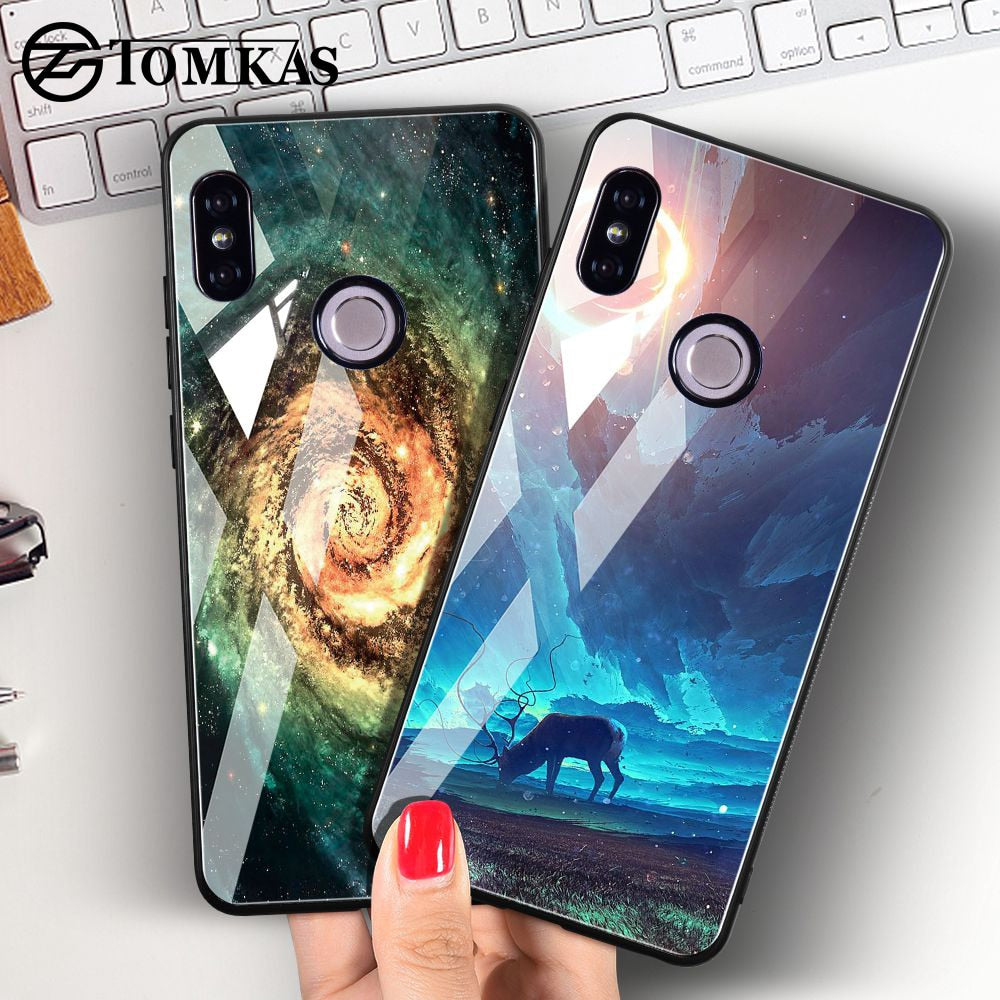 Tomkas Tempered Glass Case For Xiaomi Redmi Note 5 Global 4x Space Full Cover Coque