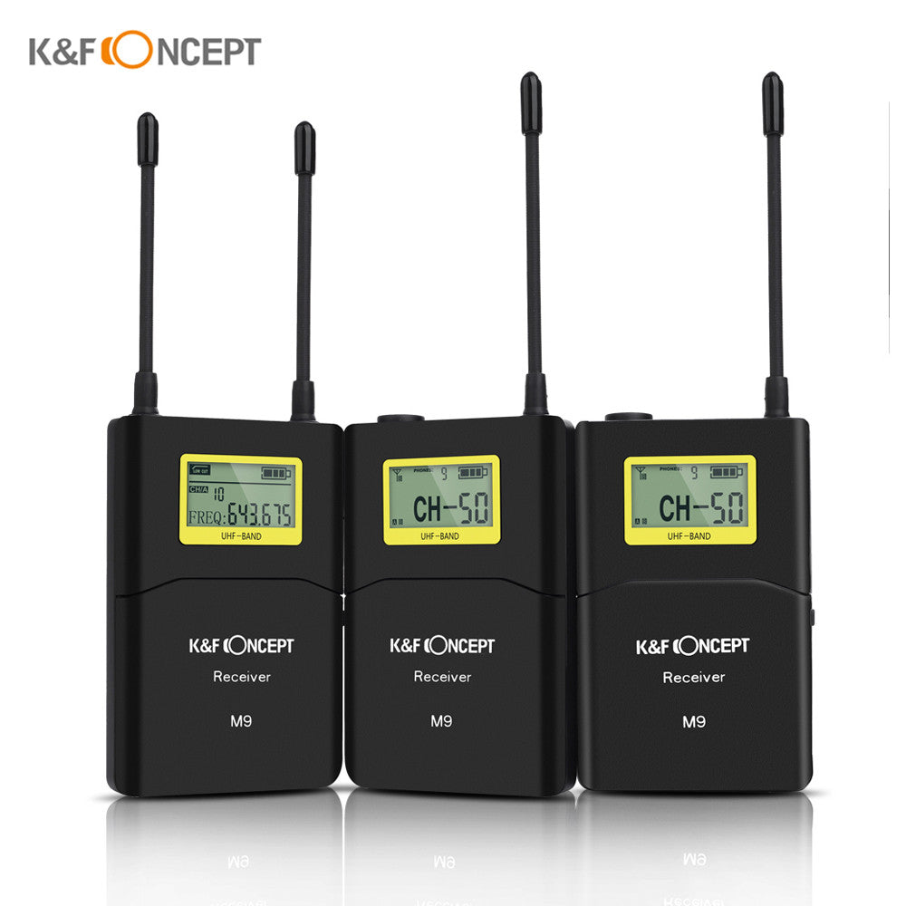 Kf Concept M9 100 Channel Uhf Wireless Microphone System With 2 Circuit Audiocircuit Transmitter Portable Receiver Lavalier Mic Shoe Mount Hard Case For Canon Nikon Sony