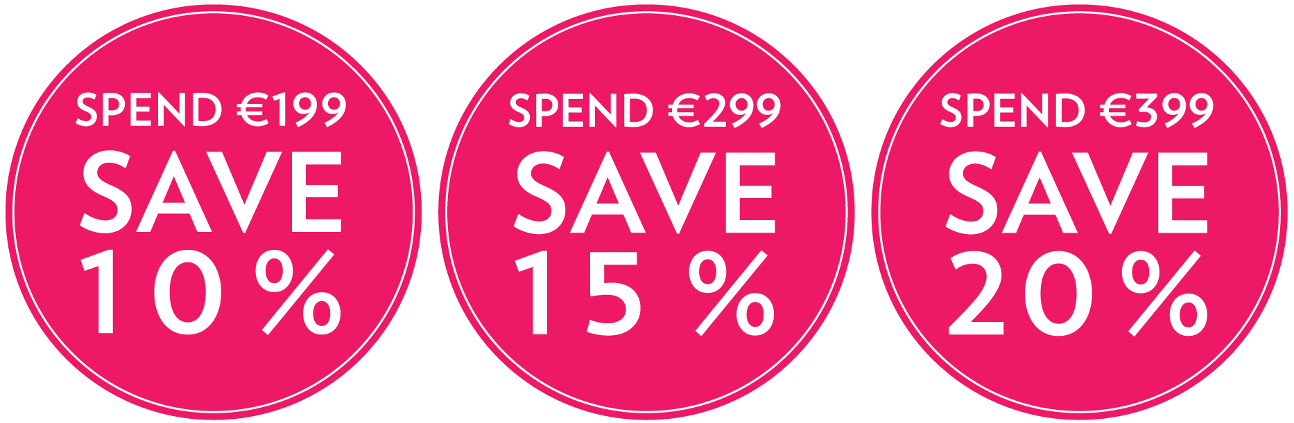 Image of Bodyrock Build your own bundle pricing in pink coloured bubbles with text Spend €199 to SAVE 10 percent or Spend €299 to SAVE 15 percent or Spend €399 to SAVE 20 percent