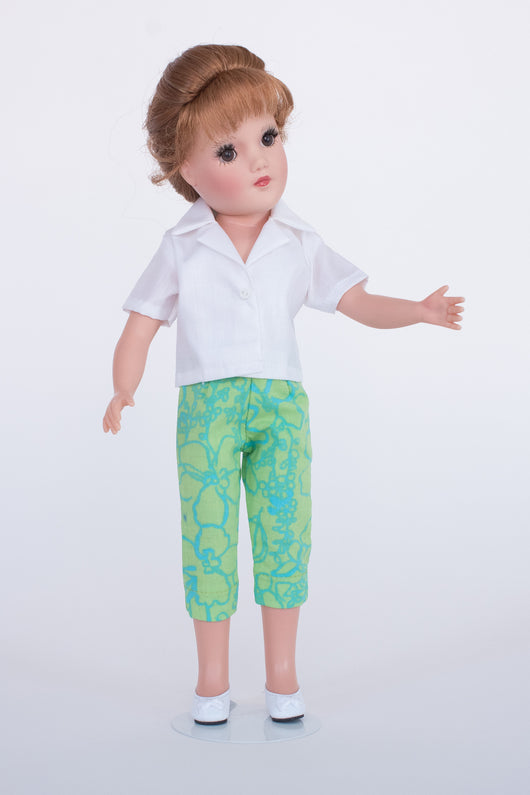 Blue and Green Capris with White Sport Shirt
