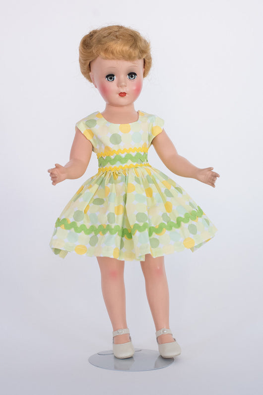 Gigi Doll - Short Dress with Green Ricrack Trim