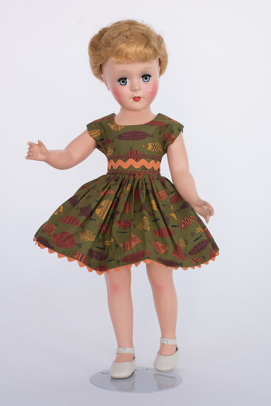 Gigi Doll - Short Dress with Orange Rickrack Trim