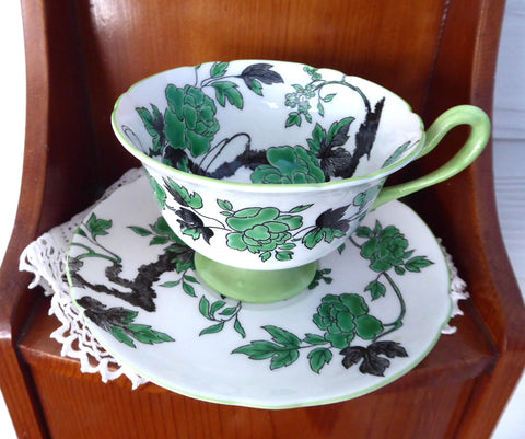 Shelley China England Cup Saucer Gainsborough Ovington Peony Chippendale