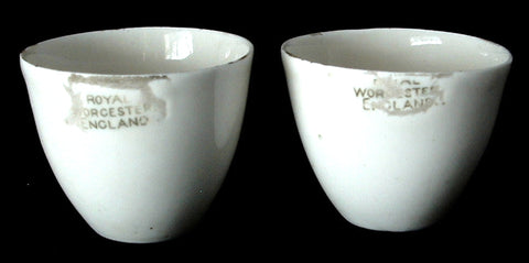 Royal Worcester Crucibles Or Pair Porcelain Cups 1920s Sillax Laboratory Ware