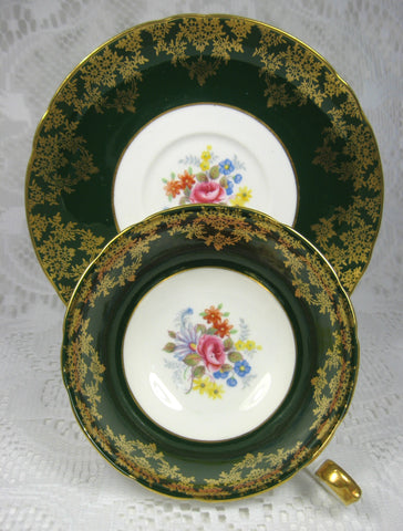 Shelley Green Combo Georgian Flora Lincoln Cup And Saucer Gold Overlay