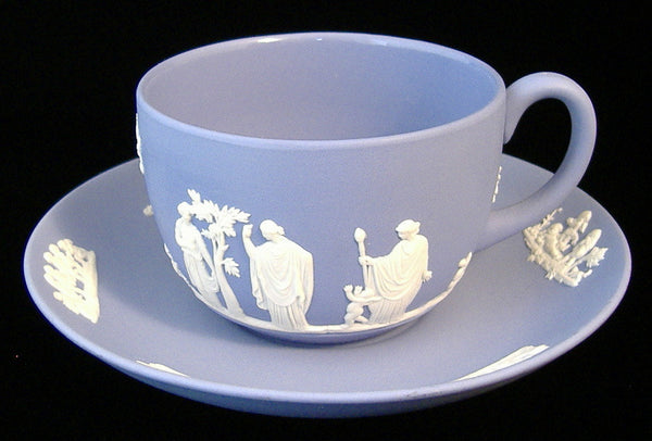 Wedgwood Jasperware Cup And Saucer Sacrifice Figures Cherubs Group 1950s