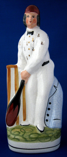 Staffordshire Figure The Cricketer 1920s Hand Painted 1920s Nostalgic Home Decor