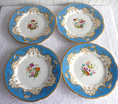 Ridgway 4 Luncheon Plates 1856-1858 Hand Painted Florals Blue Borders Exquisite
