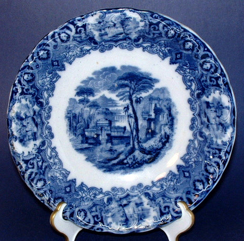 English Blue Transferware Ironstone Soup Bowl Large Romantic Staffordshire Victorian