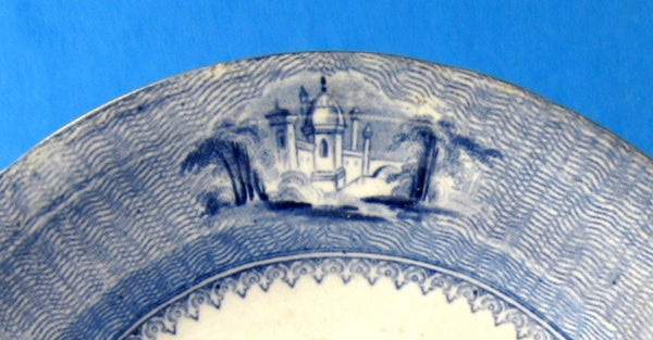 Plate Romantic Staffordshire Siam Blue Transfer 1850s Luncheon Blue And White