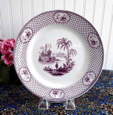 Purple Mulberry Transferware Milesian Luncheon Plate 1850s John Wedge Wood England