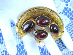 Etruscan Revival Brooch 22kt Gold Genuine Garnets Pearls 1860s Pin Handmade Pin