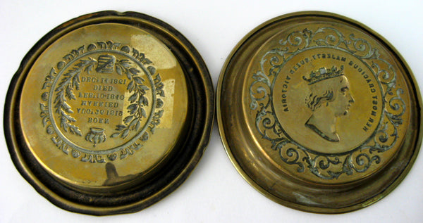 Queen Victoria Death Of Albert 1861 Memorial Pair Of Brass Dishes Mourning