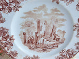 Brown Transferware Salad Plate 1870s Copeland English Abbey Ruins