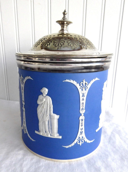 Biscuit Barrel Dudson Blue Jasper Dip Cookie Jar Muses Mid Victorian Hinged Lid
