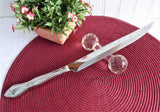 Antique Faceted Crystal English Barbell Carving Kniferest 1850-1870s Table Accessory