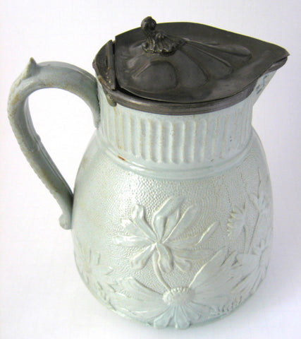 Antique Salt Glaze Stoneware Pitcher Jug Green Pewter Lid UK Victorian 1870-1890s
