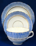 Royal Stafford Glencoe Teacup Trio Victorian Blue White 1870s Aesthetic Transferware