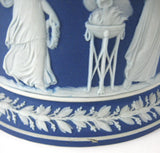 Biscuit Barrel Wedgwood Jasper Dip Cookie Jar Flange Base Sacrifice Figures 1870s