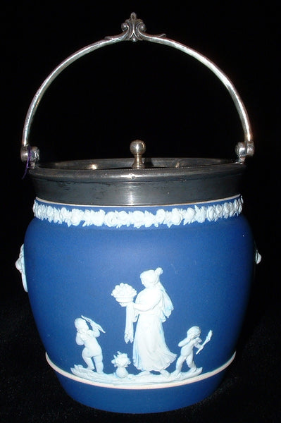 Wedgwood Biscuit Jar Dark Blue Jasperware Dip Barrel Women Cherubs 1870s