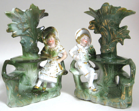 Staffordshire Spill Vase Pair Fairing Boy Girl Souvenir German 1870s Mantle Decor