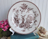 Aesthetic Movement Plate 1878 Elsmore Lily And Vase Brown Transferware Fan Asian