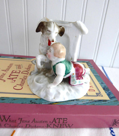 Victorian English Matchstriker Boy And Dog Match Holder Fairing 1880-1890s