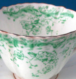 Green Transferware Teacup Trio Antique Staffordshire Ironstone 1880s Floral