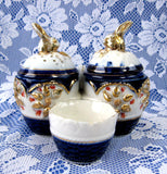 English Ironstone Imari Bunny Heads Condiment Cruet Set 1880s Cobalt Blue Rust Gold