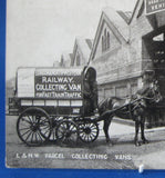 Railroad Postcard Real Photo L&NW Rail Parcel Collecting Vans Horse Drawn 1880s