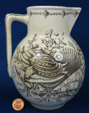 Brown Transfer Sea Shell Victorian Pitcher Aesthetic Movement Antique Staffordshire
