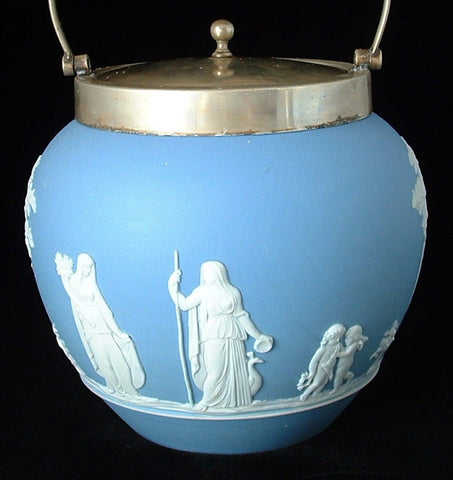 Biscuit Barrel Blue Jasperware Dip Wedgwood Offering To Peace 1880s