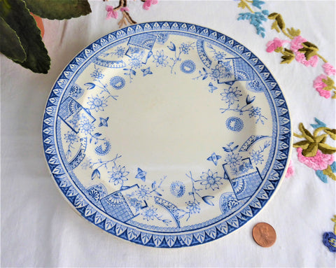 Booths Cairo Aesthetic Movement Plate 1880s Blue Transferware Fans Birds Flowers