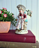 Victorian Match Holder Boy With Eggshell Toothpick Hand Painted 1880s Vase