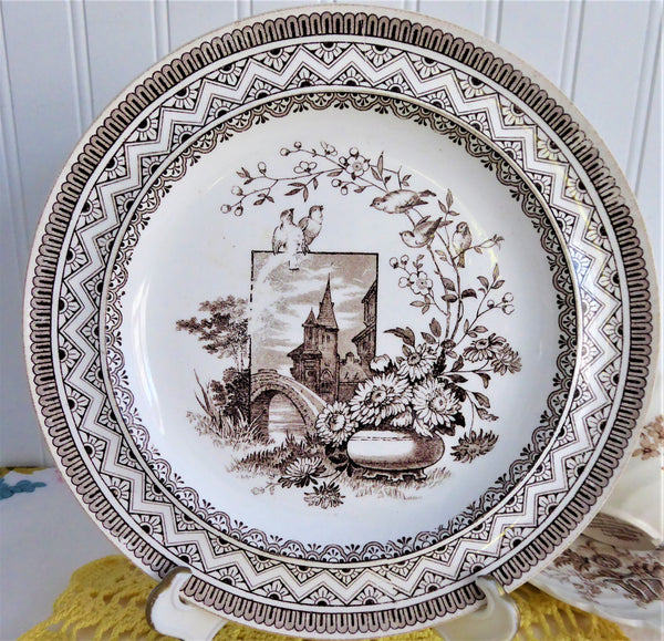 Wedgwood Edinburg Aesthetic Plate 1882 Brown Transferware Birds Flowers Castle