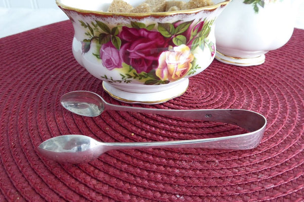 English Sterling Silver Sugar Tongs 1884 Spoon Ends Victorian Charles Boyton Spoon Ends