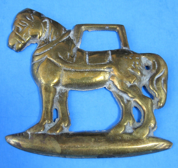 Victorian Era English Horse Brass Standing Draft Horse Antique 1890-1900