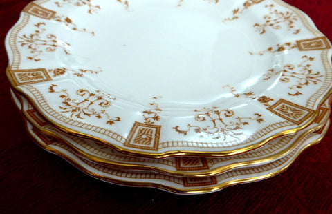 Salad Plates 3 Royal Crown Derby England Antique Gold Set Of 3 1890s Gorgeous