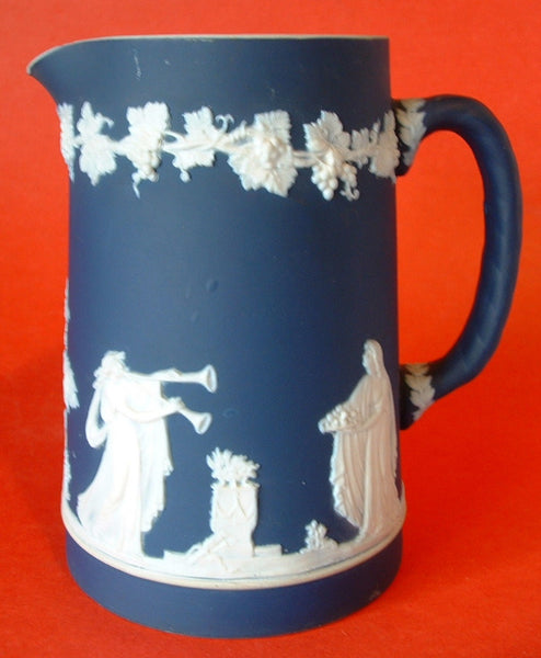 Antique Jasperware Pitcher Jug Adams England Blue Dip 1890s
