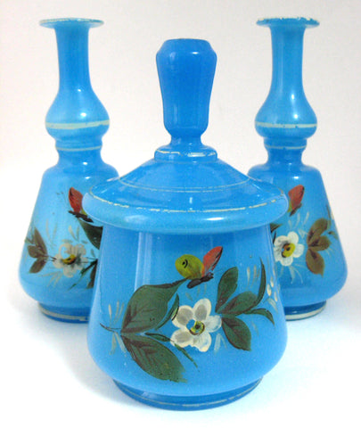Victorian Bristol Blue Art Glass Vanity Set 3 Piece Decanters Covered Jar Perfumes England Barber