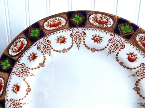 Antique 1890s Imari 10 Inch Dinner Plate England Swags Gold Colclough