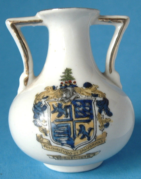 Crested China Antique Vase Bournemouth Crest Victorian 1890-1910 Coastal Souvenir